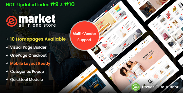 eMarket - Multi-purpose MarketPlace OpenCart 3 Theme (10 Homepages & Mobile Layouts Included)