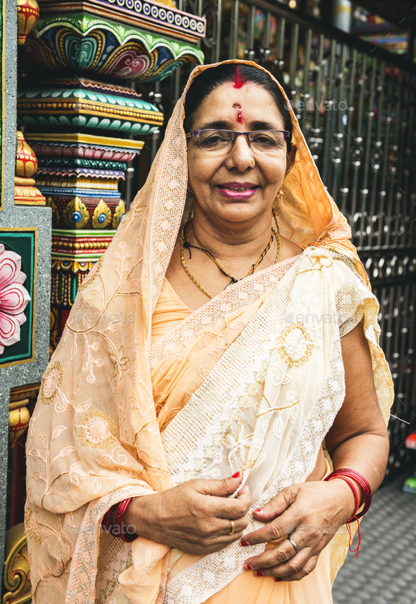 Indian woman portrait at the temple - Stock Photo - Images