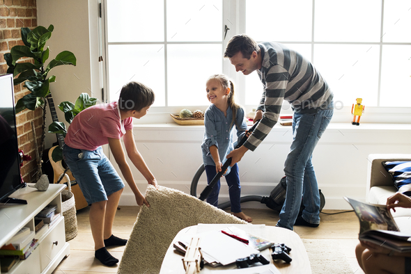 Kids helping house chores - Stock Photo - Images