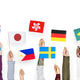 Hands holding flags isolated on background - PhotoDune Item for Sale