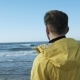 Lonely Man Looking at the Blue Sea - VideoHive Item for Sale