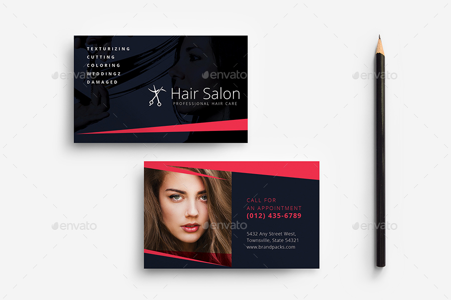 hair salon business card template by brandpacks