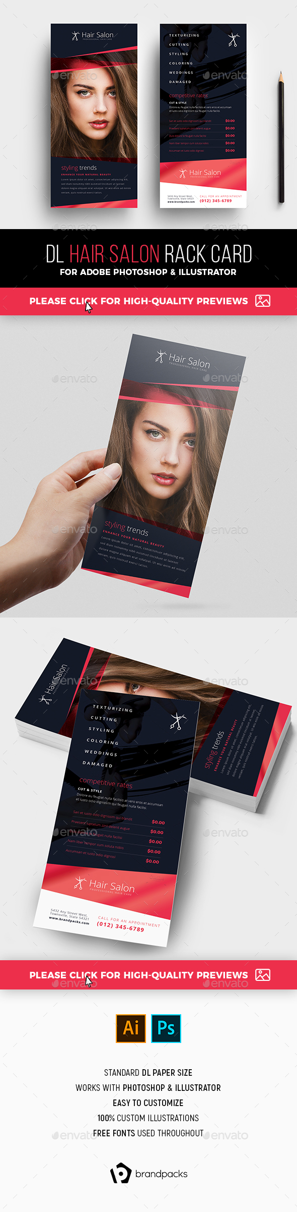 Hair Salon Rack Card Template - Commerce Flyers