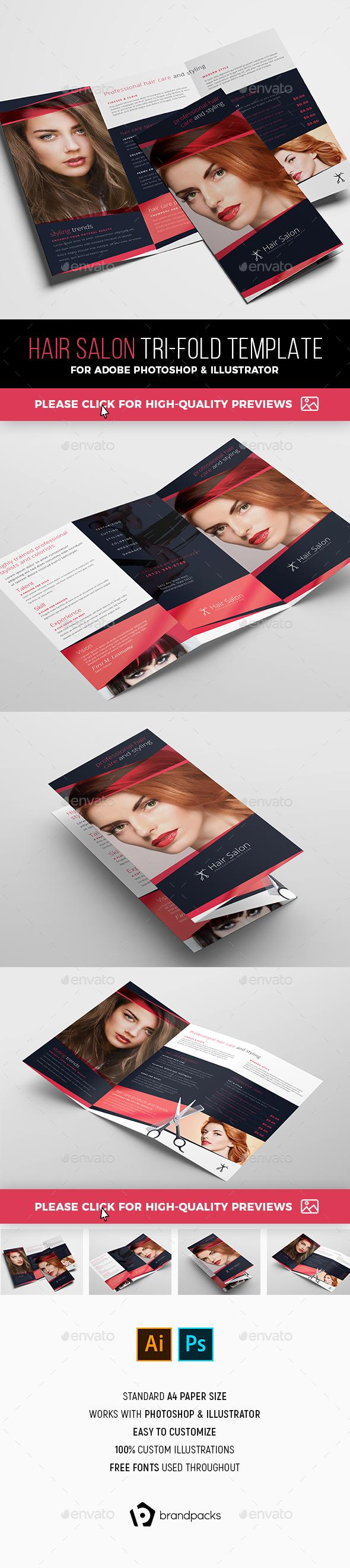 Hair Salon Tri-Fold Brochure Template - Corporate Brochures