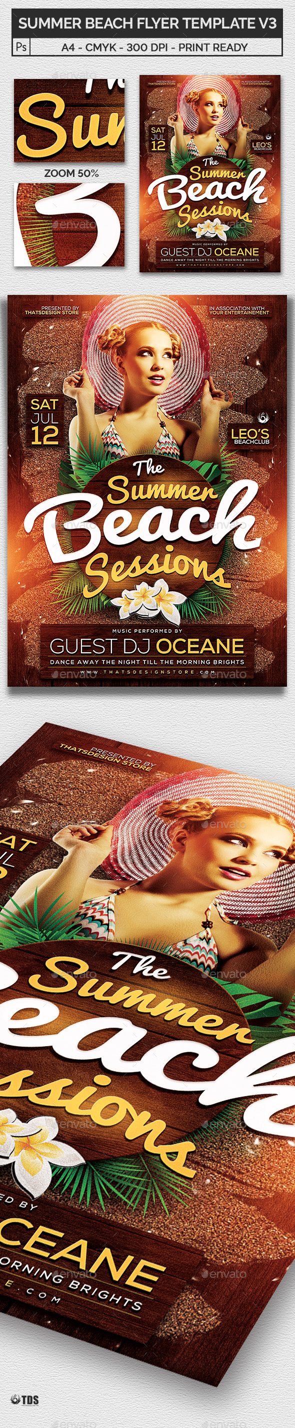Summer Beach Flyer Template V3 - Clubs & Parties Events
