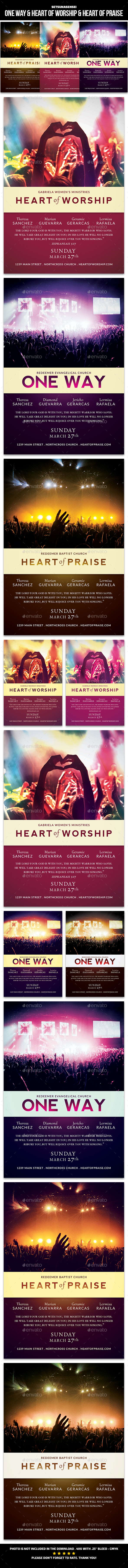 One Way & Heart of Worship & Heart of Praise Flyer - Church Flyers