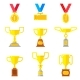 Set of Golden Trophy Cups. - GraphicRiver Item for Sale