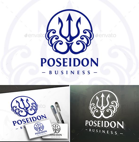 Poseidon Circle Logo - Vector Abstract