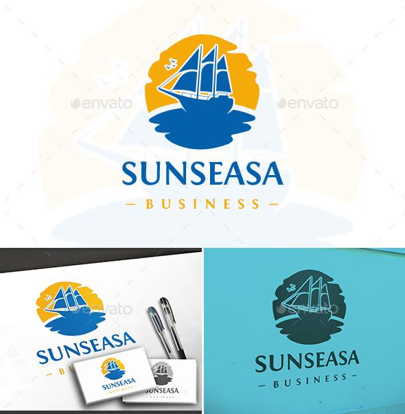 Sun Sea Sail Logo - Objects Logo Templates
