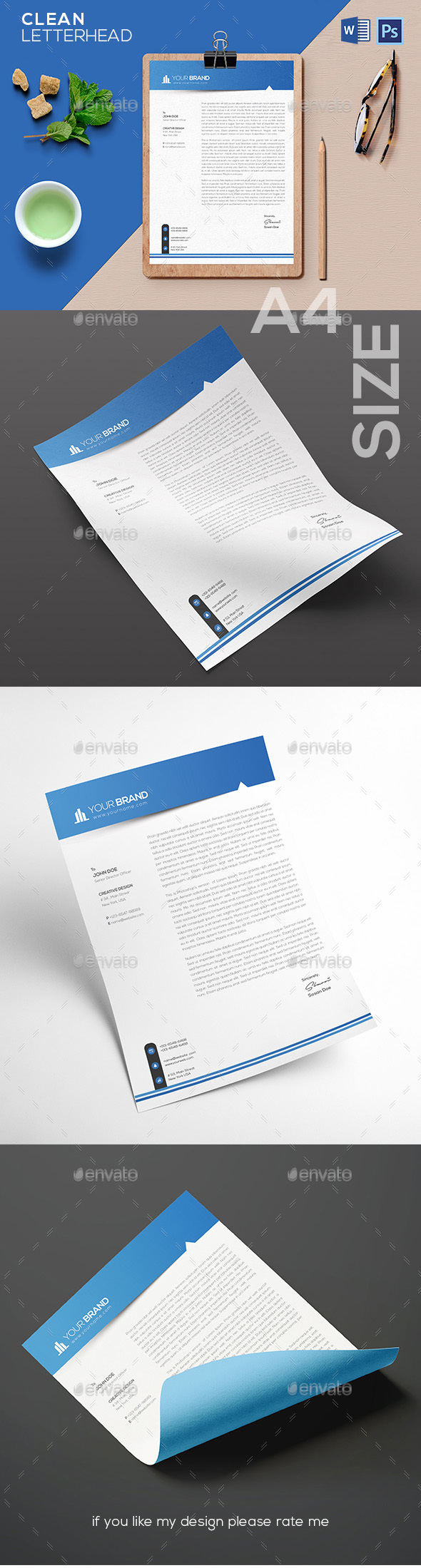 Letterhead Template - Stationery Print Templates