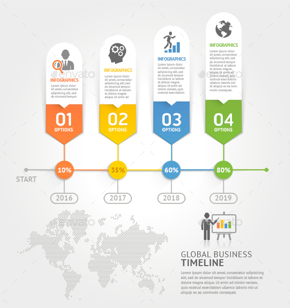 Business Timeline Elements Template. - Infographics