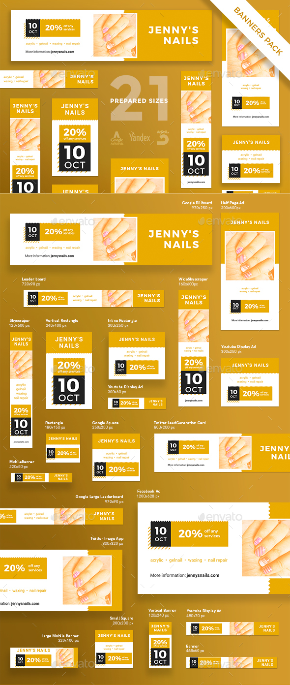 Nail Studio Banner Pack - Banners & Ads Web Elements