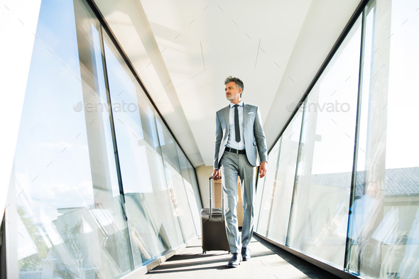 Mature businessman with suitcase travelling. - Stock Photo - Images