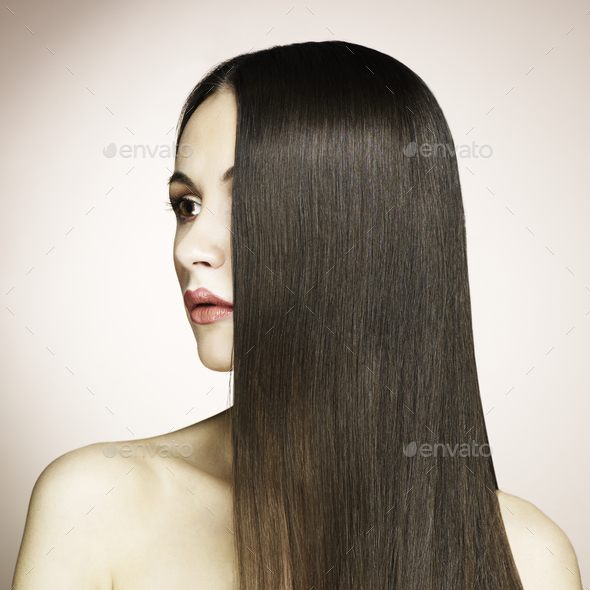 Fashion photo of beautiful woman with magnificent hair - Stock Photo - Images