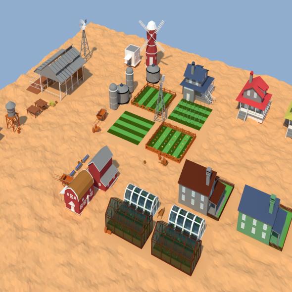 Low Poly Farm Complex - 3DOcean Item for Sale