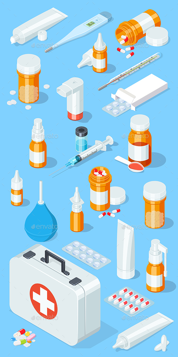 Pharmacy Set - Health/Medicine Conceptual