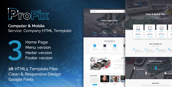 ProFix - Computer & Mobile Phone Repair Service Company HTML5 Template