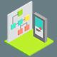 Set Icon Illustrations in Isometric Style Web Work