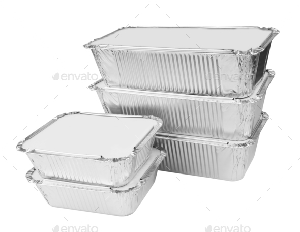 Foil trays for food - Stock Photo - Images