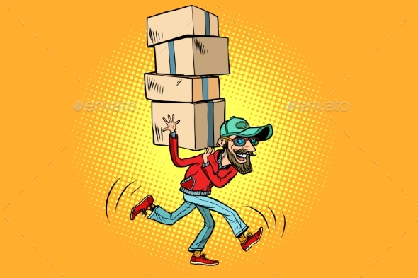 Courier Delivery, the Employee Quickly Runs - Business Conceptual