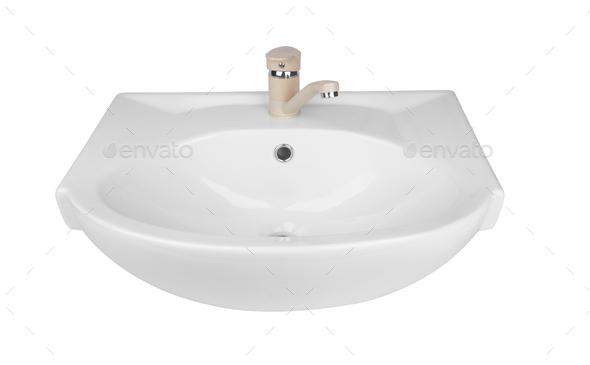 Washbasin isolated on white - Stock Photo - Images