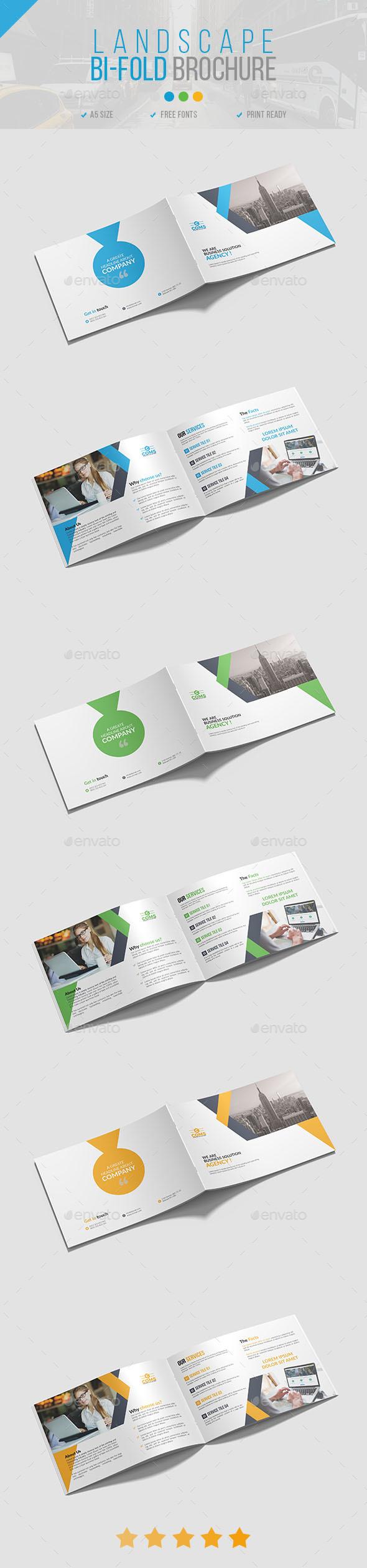 Landscape Bi-Fold Brochure 02 - Brochures Print Templates
