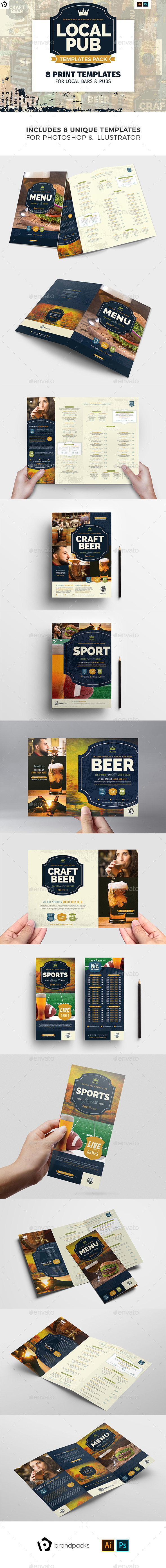 Local Pub Templates Bundle - Food Menus Print Templates