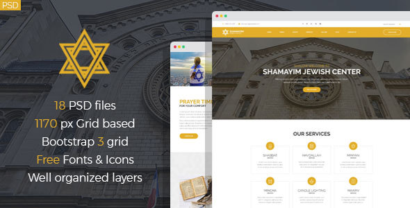 Shamayim - Jewish Center PSD Template - Nonprofit PSD Templates