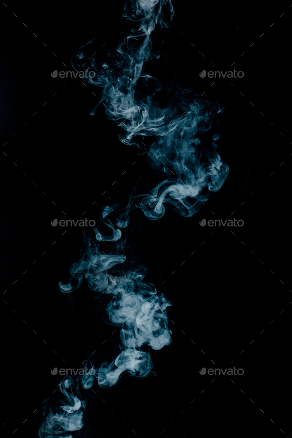 Vapor texture from a hot drink on a black background. Blue smoke with copy space. - Stock Photo - Images