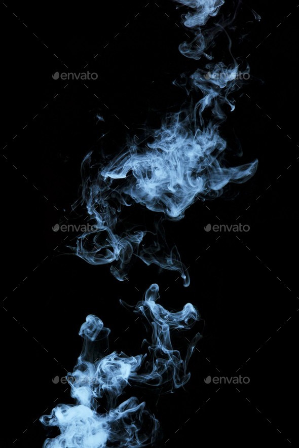 Steam texture from a hot drink on a black background. Blue smoke with copy space. - Stock Photo - Images