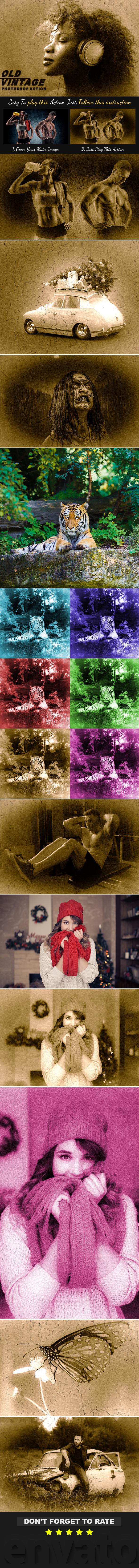 Old Vintage Photoshop Action - Photo Effects Actions