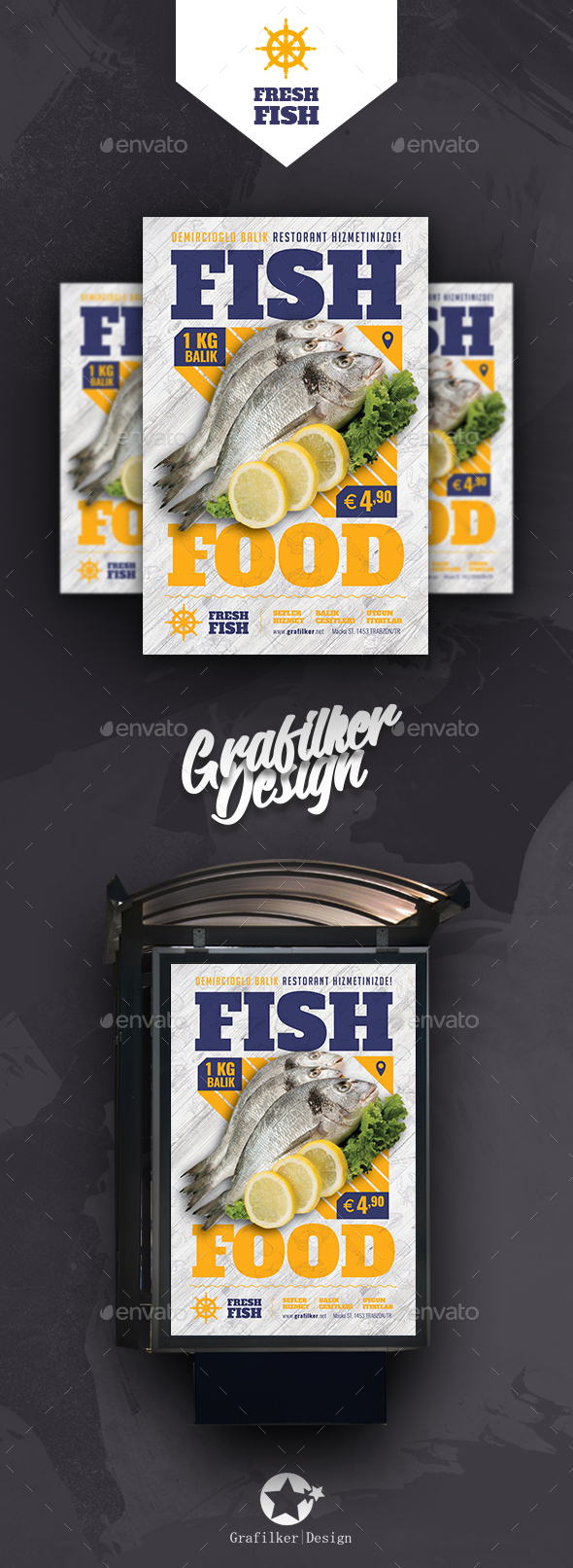 Sea Food Restaurant Poster Templates - Signage Print Templates