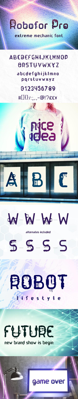 Robofor Pro Font - Futuristic Decorative