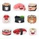 Funny Cute Sushi and Sashimi Cartoon Characters