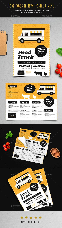 Food Truck Festival Poster & Menu - Restaurant Flyers
