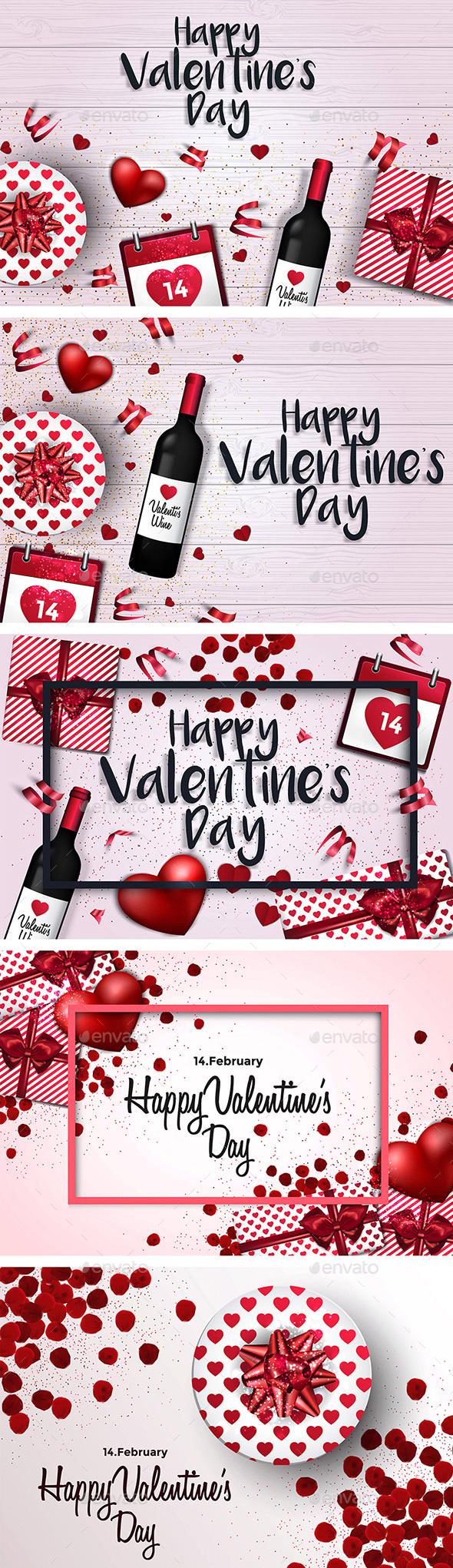 Set Of 5 Trendy Valentines Day Greeting Cards Design By Graphics4u