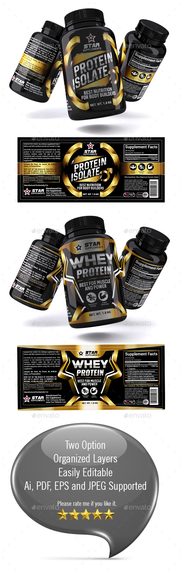 Whey Protein Supplement Label Vol-36 - Packaging Print Templates