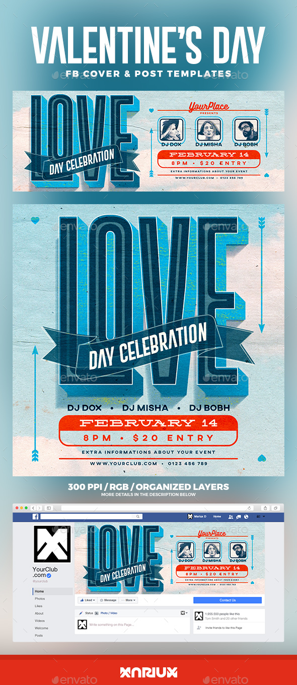 Retro Valentine's Day Facebook Cover - Social Media Web Elements