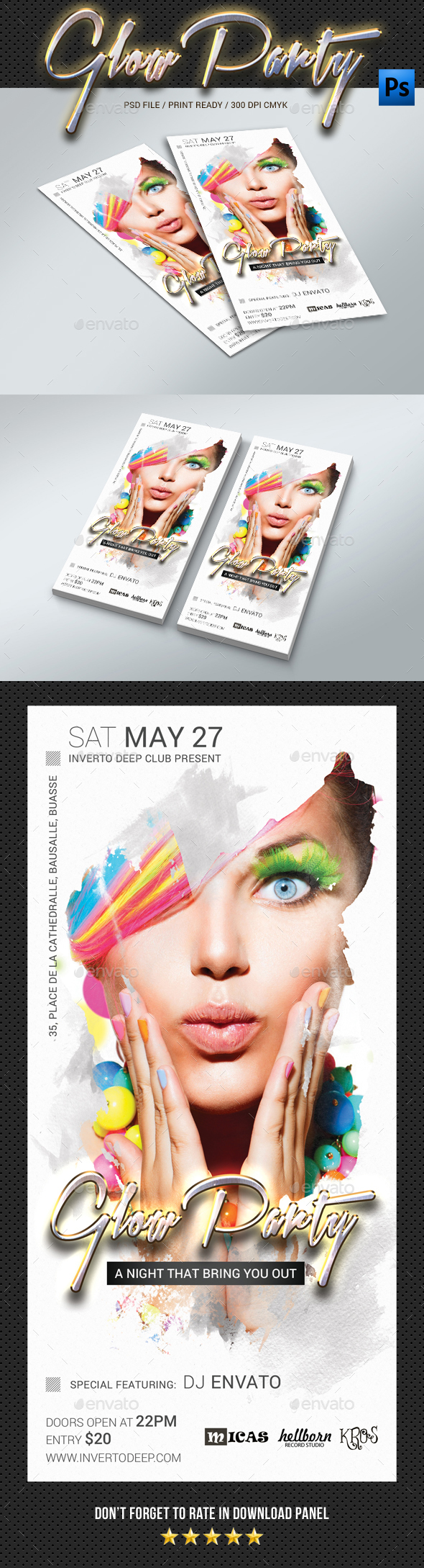 DL Glow Party Flyer - Clubs & Parties Events