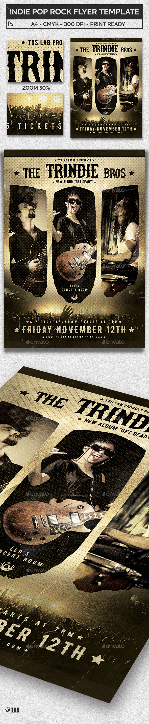 Indie Pop Rock Flyer Template - Concerts Events
