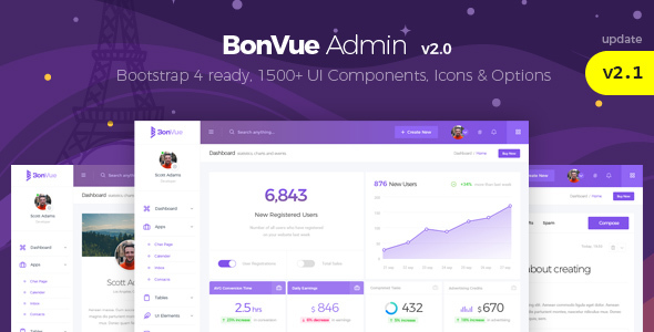 BonVue - The Ultimate Bootstrap 4 Admin Template & UI Kit - Admin Templates Site Templates