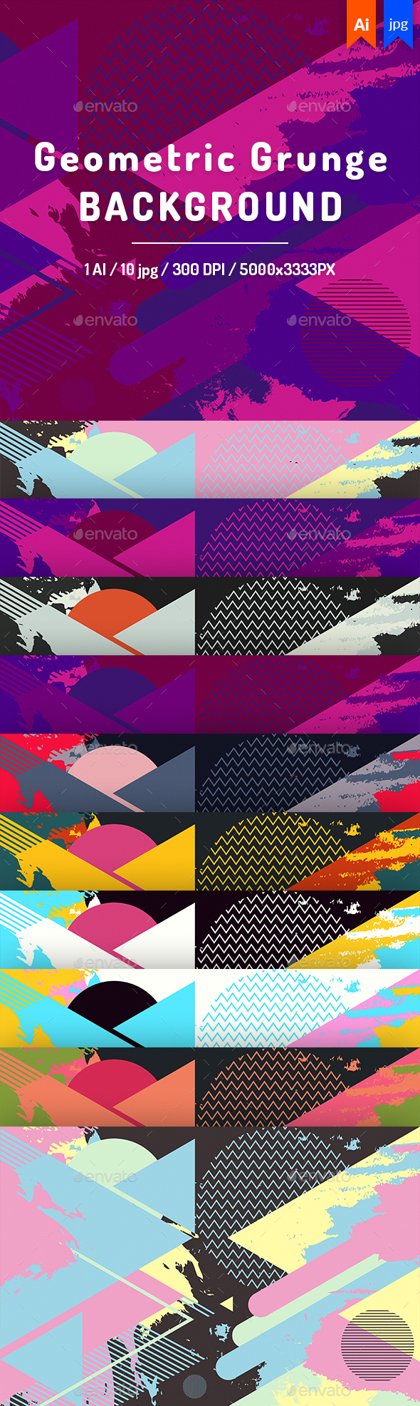 Geometric Grunge - Backgrounds Graphics