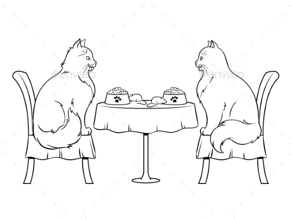 Cats on Date in Restaurant Coloring Book Vector - Animals Characters