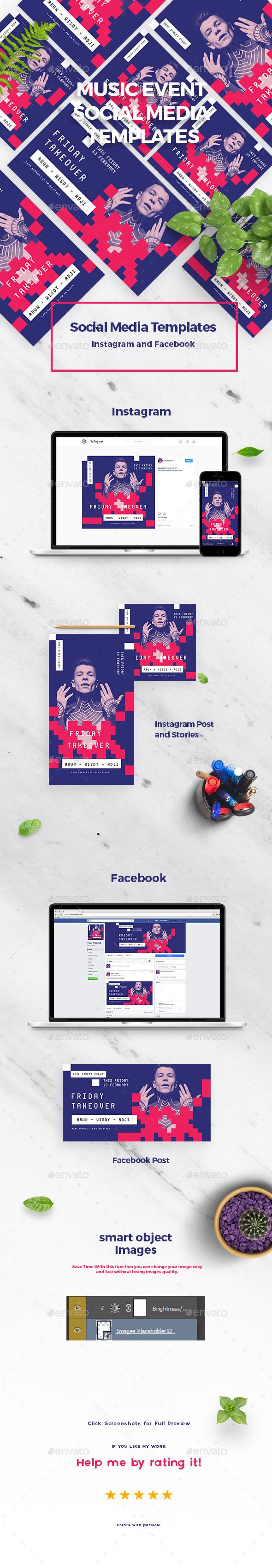 Music Event Social Media Templates - Social Media Web Elements
