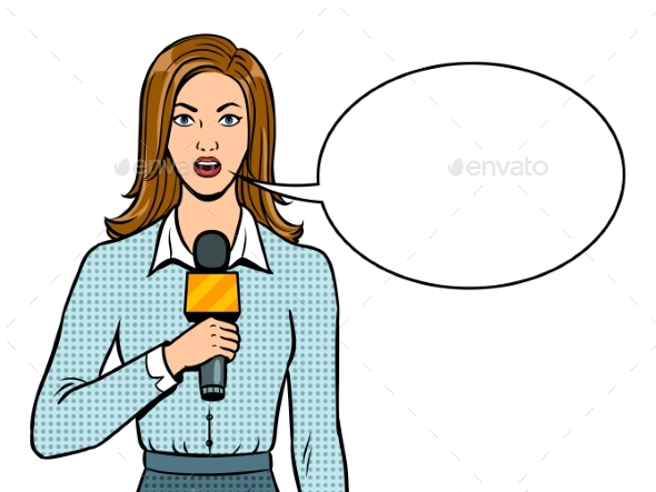 Journalist with Microphone Pop Art Vector - People Characters