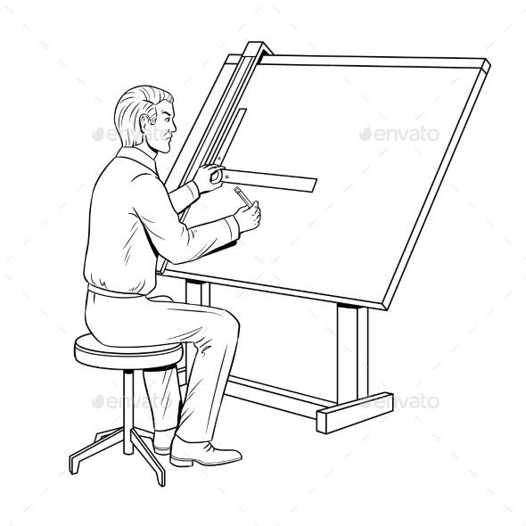 Old School Engineer Coloring Book Vector - People Characters