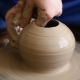 Creating Jar or Vase of Clay. Woman Hands, Potter's Wheel - VideoHive Item for Sale