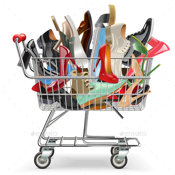 Vector Shopping Cart with Shoes - Retail Commercial / Shopping