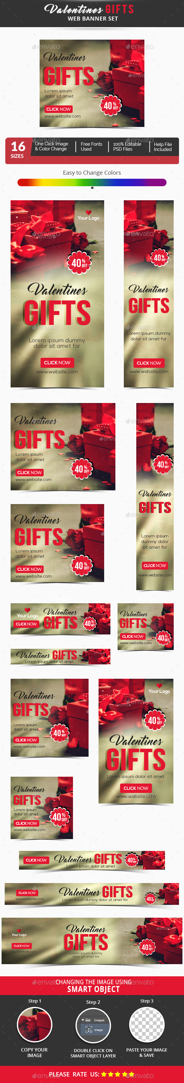 Valentines Day Banner Set - Banners & Ads Web Elements