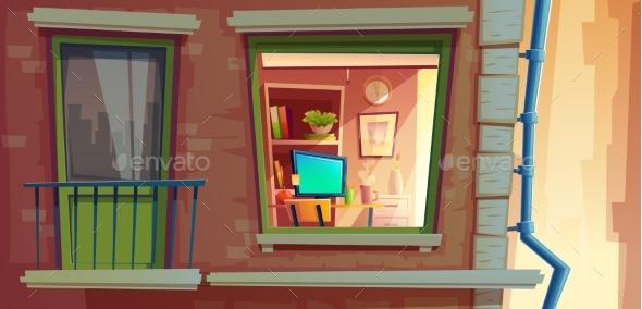 House Facade Element Vector Cartoon Illustration - Buildings Objects